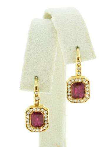 18K Yellow Gold and Ruby Lever Back Earrings Made by Hamilton of Palm Beach