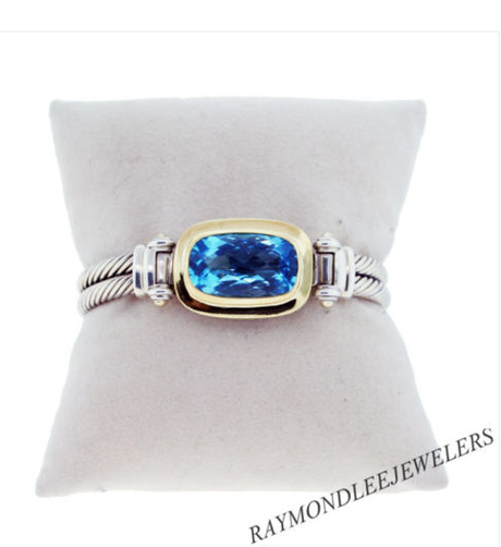 David Yurman Sterling Silver and 18K Yellow Gold with Blue Topaz Bracelet