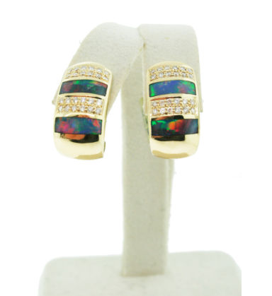 14K Yellow Gold, Diamond and Black Opal Inlay J-Hoops