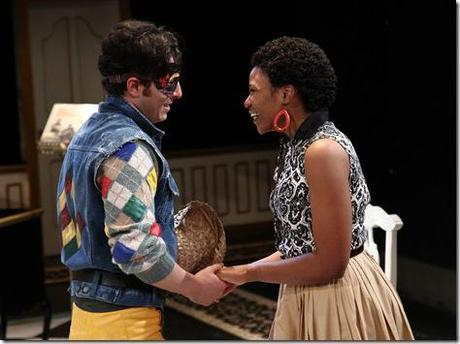 Harlequin (Nicolas Gamboa) with neighborhood sweetheart Silvia (Alana Arenas) in Remy Bumppo Theatre Company's Changes of Heart by Marivaux, translated by Stephen Wadsworth. (photo credit: Johnny Knight)