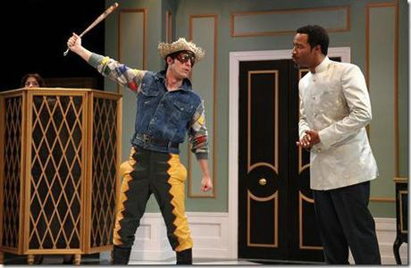 Nicolas Gamboa (as Harlequin) and D'Wayne Taylor  (as Trivelin) in Remy Bumppo Theatre Company's Changes of Heart by Marivaux, translated by Stephen Wadsworth. (photo credit: Johnny Knight)