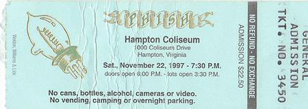 Phish: 1997/11/22 ticket stub
