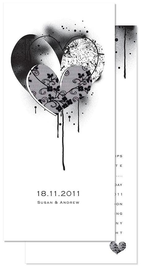 Monochrome Hearts wedding invitation I love the grungey hearts