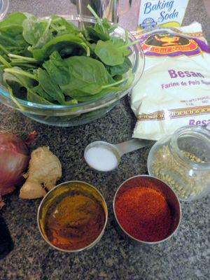 Spinack Pakoras - Ingredients