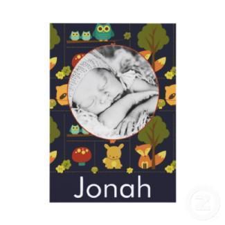 Baby photo birth announcement - boy invitation