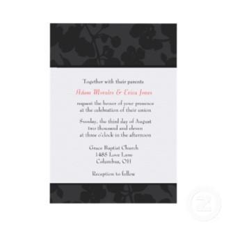 Black and white wedding invitation - floral invitation