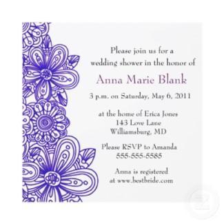 Floral Wedding Shower Invitation - purple invitation