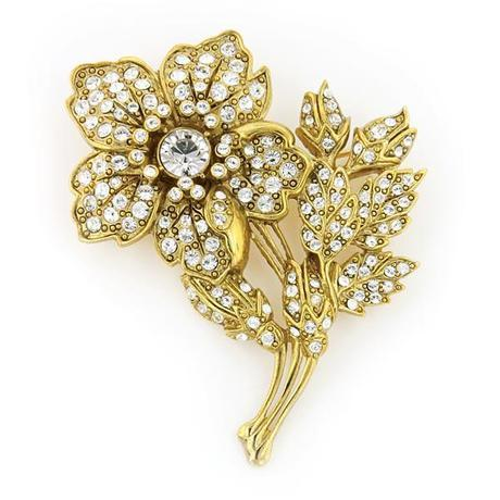 Vintage Gold and Marcasite Flower Brooch