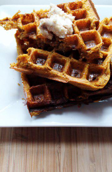 Food: Whole Wheat Pumpkin Waffles with Maple Cinnamon Butter.