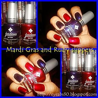 Nail polish: Jordana in Mardi Gras and Ruby Slippers