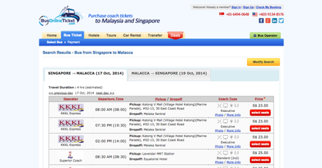 Online Booking of bus from Singapore to Malacca   BusOnlineTicket.com