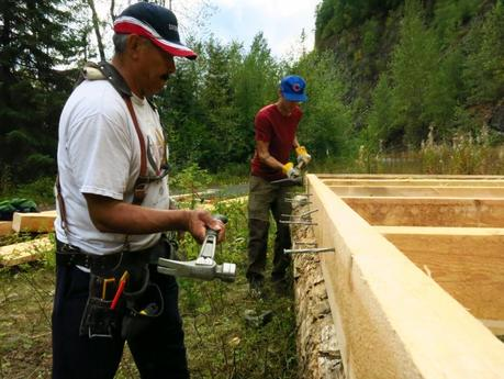 Construction of a house in August for Aboriginal protesters to permanently blockade LNG pipeline development in Gitxsan territory - Photos by Pansy Wright-Simms