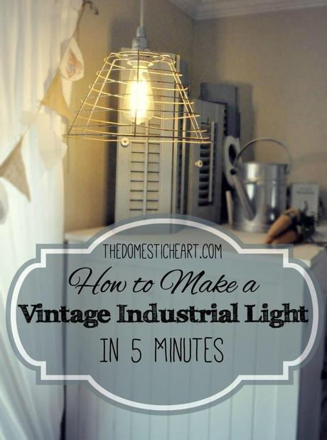 5 Minute DIY VIntage Industrial Pendant Light Tutorial from TheDomesticHeart.com