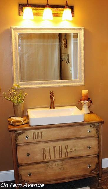 Dresser Converted into a Bathroom Vanity