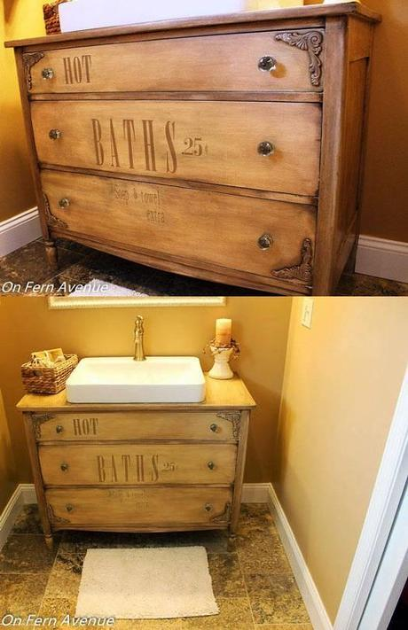 Bathroom Vanity Made out of an Old Dresser