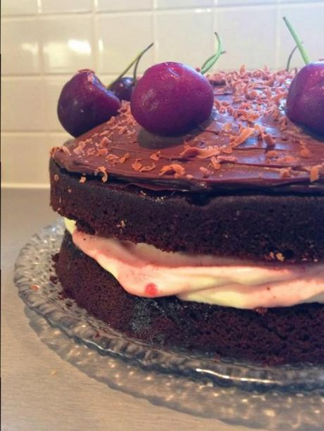 black forest cake oozing middle with cream and fresh cherries recipe #greatbloggersbakeoff2014 european
