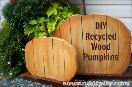 recycled wood pumpkin