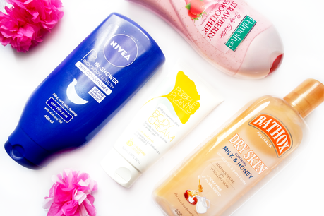 bath and body, nivea, in shower, body conditioner, people for plants, body cream, gingko, coconut, shea, bathox dry skin, shower gel, palmolive, body butter, strawberry smoother twoplicates, blogger, review, edit,
