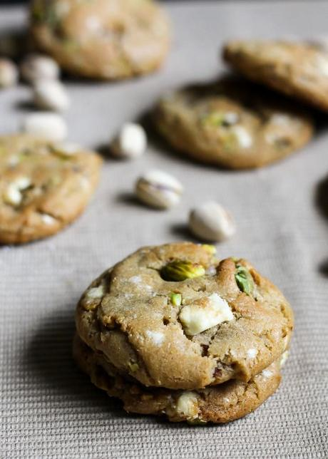 Pistachio White Chocolate Chunk Cookies (with browned butter in the ...