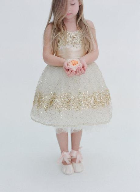 Gold Sequin Flower Girl Dress