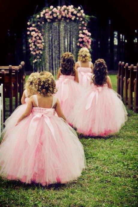 Pink tutu flower girl dress
