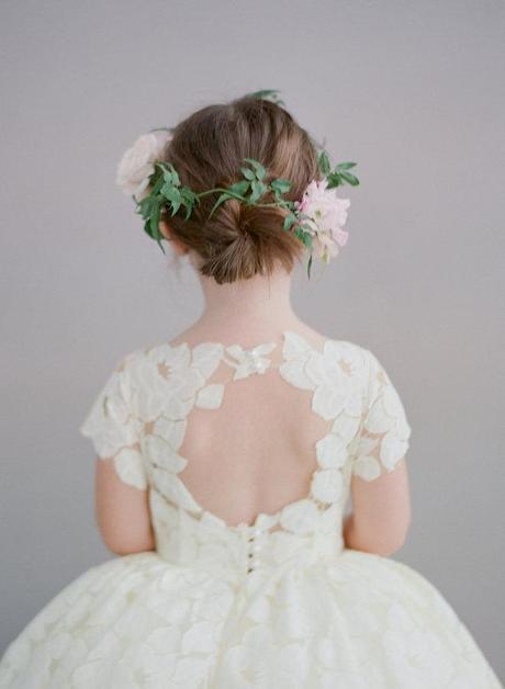 Open back flower girl dress with petals