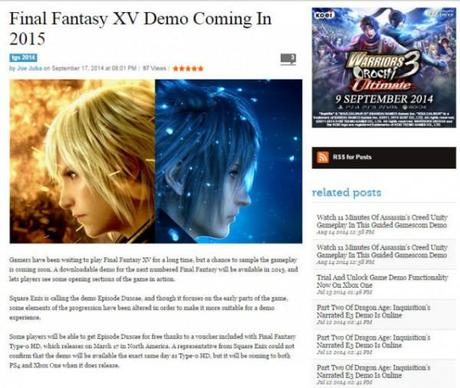 Final Fantasy 15 demo coming in 2015, Type-0 dated – report