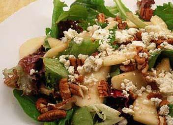 Pear, Walnut and Blue Cheese Salad with Maple Dijon Dressing