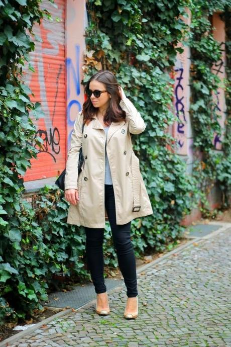 fashion blogger, beauty, basics, iheartblack, fashion staples, fall, timeless, nude trench coat, gray t-shirt, outfit, black skinnies, nude pumps, minimalist, jewelry, berlin, cupcake, cheese cake, sudanese food, cat eye sunnies, ASOS, C&A, Zara, Primark, H&M, Bulgari