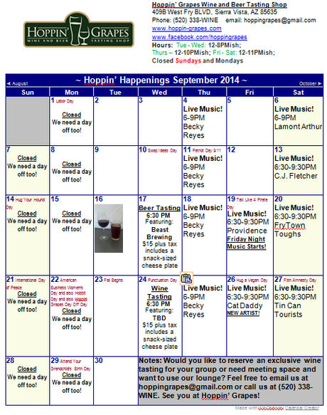 September 2014 Calendar - Hoppin' Grapes Wine and Beer Tasting Shop and Retail Store