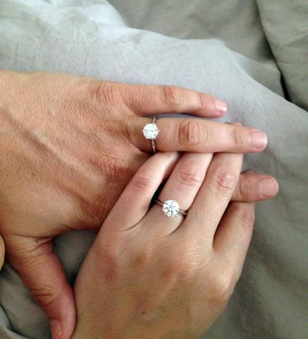 Hers and Hers Diamond Engagement Rings - Image by HappyNewLife