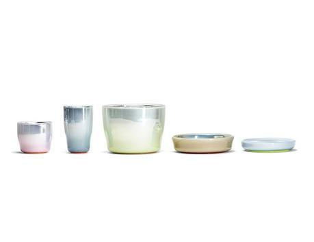 Stefan Scholten and Carole Baijings designed pastel vessels by verreum made of glass and silver coating