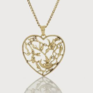 Image: Rose 14K Gold Tree of Life Filigree Heart Necklace
