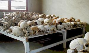 Skulls displayed at The Rwandan Genocide Murambi Memorial