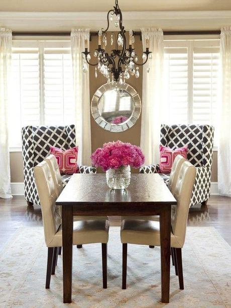 Dining Area, touch of pink, love the pattern of the chairs