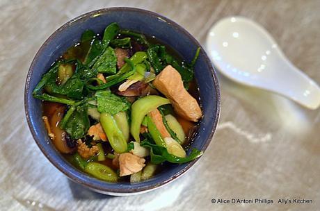 Spicy Chicken Bokchoy Arugula Soup
