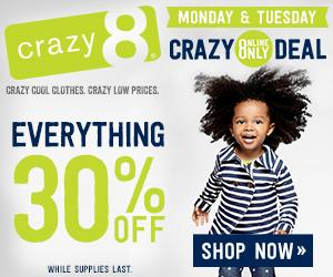 Hurry Limited Time Offer – Save 30% off Everything at Crazy 8