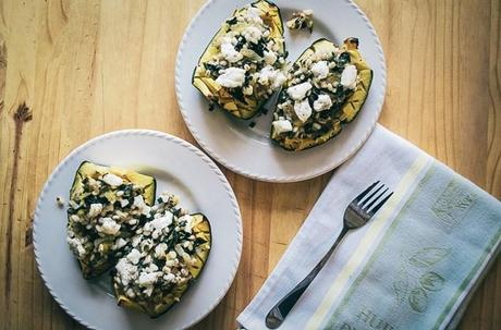 Acorn Squash with Barley and Goat Cheese