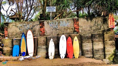 Bali Surfs Up 2397 Postcard: Canggu Beach Surf Boards