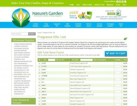 fragrance oils- list page