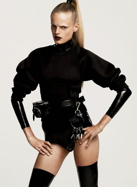 Hanne Gaby Odiele by Cédric Buchet for Elle US October 2014, inspiraton, alexander wang, alexander wang for h&m, minimalsm fashion blogger trends autumn fall winter all black turn it inside out belgium