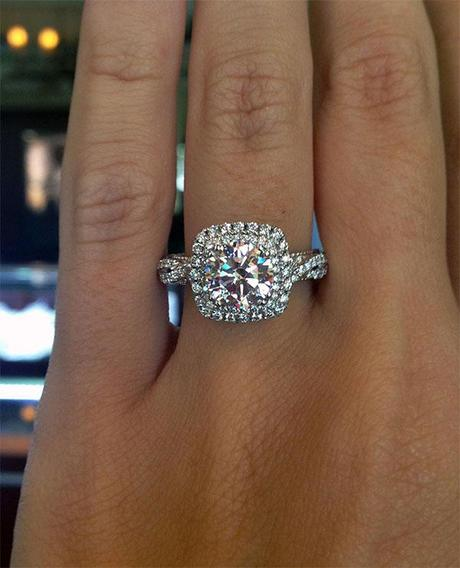 Hot Engagement Ring Trend The Square Halo Engagement Ring