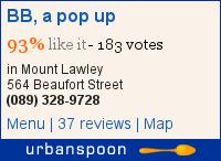 BB, a pop up on Urbanspoon