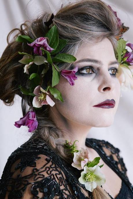 Vanitas Halloween costume. Florals and ghoul.