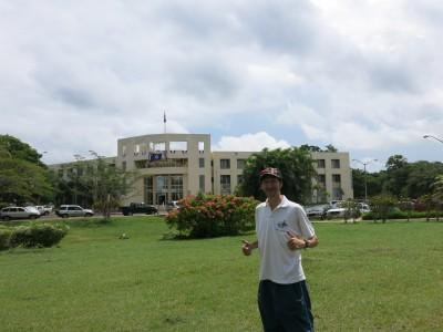 In front of the National Assembly in Belmopan, Belize.