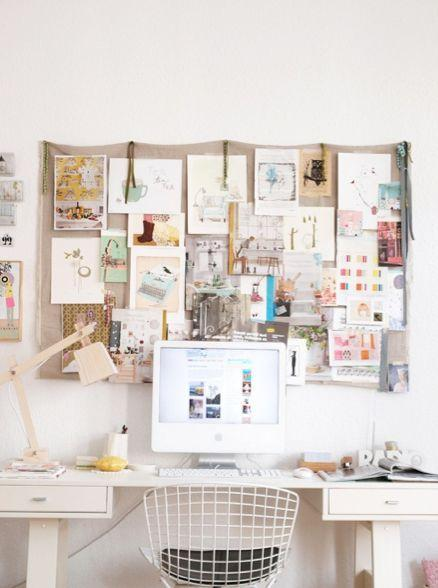 Hanging all important papers and pictures on a cute corkboard above your desk is a nice way display your inspirations