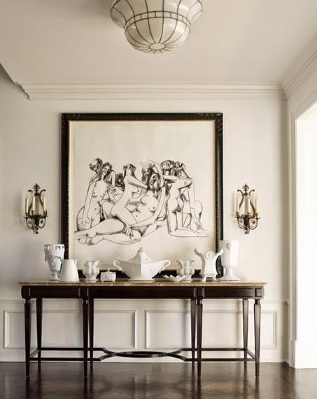 neutral modern hallway foyer black white