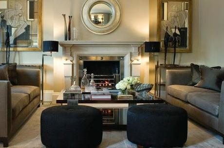 beautiful living room neutral with black and gold accents