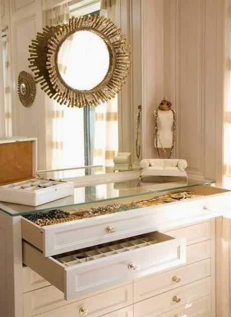 white dressing vanity drawers layered mirrors