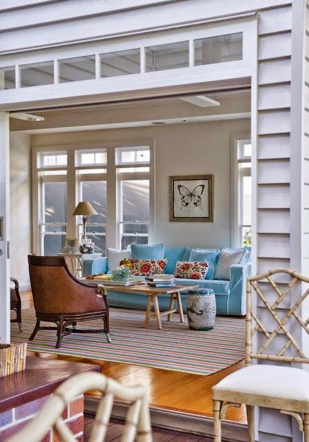 living room open to deck